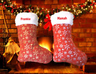 Personalised Embroidered Luxury Feel Snowflake Fluffy Top Christmas Stocking