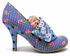NEW IRREGULAR CHOICE *FLICK FLACK* BLUE (BZ) DITSY FLORAL SHOE BOOTS-UK6.5
