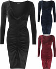 New Womens Long Sleeve Velour Cowl Neck Ruched Gathered Ladies Party Dress 8-14