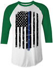 Thin Blue Line American Flag Unisex Raglan T-Shirt Police Officer
