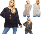 Womens Knitted Oversized Baggy Long Sleeve Mohair Necklace Ladies Fluffly Jumper