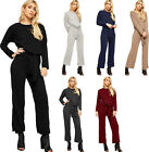Womens Ribbed Knitted Tie Up Long Sleeve Top Leggings Ladies Loungewear Set
