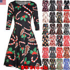 Usa Women's Xmas Santa Reindeer Christmas Printed Party Flared Swing Dress Tops