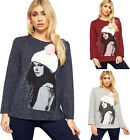 Womens Knitted Long Sleeve Pom Hat Stretch Graphic Print Round Neck Ladies Top