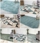 Soft Modern Fluffy Duck Egg Blue Shaggy Rugs Warm Non Shed Thick Small Large Rug