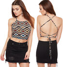 Womens Backless Aztec Strappy Tie Top Ladies Print Crop Short Sleeveless 8-14