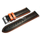 Black & Orange Italian Calf Leather Racing Rally Speedway Watch Strap 18 20 22mm