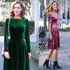 Womens Elegant Long Sleeve Velvet Work Party Evening Fit and Flare A Line Dress