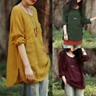 US Stock Women Asymmetrical Loose Cotton Blouse Shirt Pullover Plain Tops Jumper