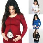 US Cartoon Baby Print Staring Women Maternity Pregnant Short T-shirt Funny Tops