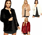 Womens Faux Fur Long Sleeve Button Lined Cardigan Coat Top Ladies Jacket 8-14