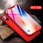 For iPhone X 360° Shcokproof Case Thin Slim Hard Cover Temper Glass Protecter RR