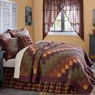 5PC HERITAGE FARMS COUNTRY PATCHWORK QUILT SHAMS SKIRT PILLOW BED SET VHC BRANDS