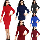Womens Vintage Retro Pinup Buttons Ruched Pleated Work Party Wiggle Sheath Dress