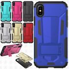 For Apple iPhone X HYBRID KICK STAND Rubber Case Phone Cover Accessory