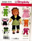 "Simplicity Doll Pattern 2458 18"" Doll Pattern Amarican Girl Doll Clothes Pattern"