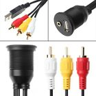 USB 2.0 A 3 RCA Male To USB2.0 A&3.5mm Female Car Mount Flush Extension Cable