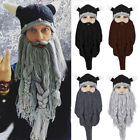 Men Main Barbarian Viking Beard Beanie Horn Hat Handmade Winter Warm Mask Cap BK