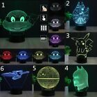 3D Acrylic LED Night Light 7 Colors USB Touch Table Desk Art Lamp Birthday Gifts