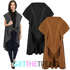 Womens Oversized Jersey Knitted Gilet Ladies Sleeveless Waterfall Cardigan Coat