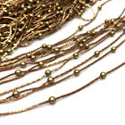 10/50 Meters Raw Brass Based Flat Cobra Satellite Beaded Chain Ball Findings