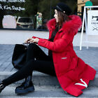 2018 Winter Womens long Down Cotton Parka Fur Collar Hooded Coat Quilted Jacket