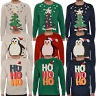 Mens Light Up X-Mas Tree Penguin Star Christmas Hat Sweatshirt Jumper Top Size