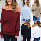 ISASSY Womens Off Shoulder Baggy Tops Chunky Knitted Oversized Sweater Jumper