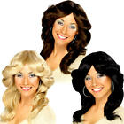 1970s Flick Wigs Ladies Fancy Dress Retro Hippy Hippie Adults Costume Accessory