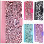 For LG K20 Plus Premium Bling Diamond Wallet Flip Pouch Cover +Screen Protector