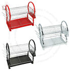 2 TIER CHROME PLATE DISH CUTLERY CUP DRAINER RACK DRIP TRAY HOLDER