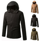 Men Fashion Casual Long Sleeve Hooded Hoodie Solid Color Fit Tops Outwear Jacket