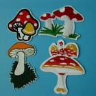 4 Mushroom Iron on Sew Patch Applique Badge Embroidered Motif Food Cute Kid Lots