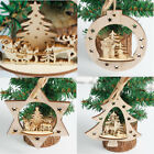 3 Pcs Christmas Tree Wood Ornament Hanging Pendant Home Xmas Party Decorations