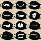 Unisex Cotton Face Masks Pattern Solid Black Mask Fashion Cute Half Face Mouth