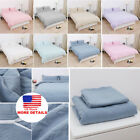 Cotton Duvet Cover Bedding Sets Pillowcases Twin/Double/Queen/King/ & 11 Colors image