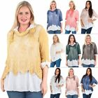 Women Italian Knitted Sequin Floral Lace Blouse Casual Lagenlook Tee Top Dresses