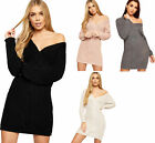 Womens Cable Knitted Long Sleeve Plunge V-Neck Wrap Ladies Bodycon Jumper Dress