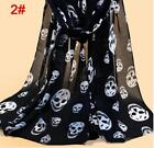 Long Shawl Fahion Skull Print Chiffon Silk Scarf Mulim Hijab For Women Soft Thin