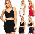 Womens Strappy Striped Popper Accent Crop Top Vest Mini Skirt Ladies Co-Ord Set