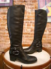 Marc Fisher Kierra Black Leather Buckle Detail Riding Boots NEW