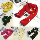 Children Baby Girls Warm Scarf Colorful Pom Pom Wool Knitting Scarf Neckerchief