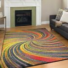 Modern Design Multi Colour Area Rug Contemporary Style Rio Rainbow Carpet Thin