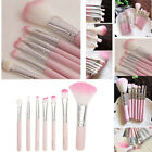 7pcs Pink Makeup Cosmetic Brushes Set Powder Foundation Eyeshadow Lip Brush Set