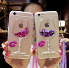 Bling Flowing Liquid Glitter Red Wine Glass Soft Phone Case Cover For iPhone