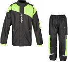 Spada Aqua Brite Motorcycle Over Jacket & Trousers Black Flo Kit Two Piece Suit