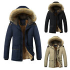 Winter Men Youth Coat Thick Warm Parka Hooded Fur Collar Jacket Cotton Outwear