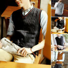Men's Male Casual V Neck Sleeveless Vest Sweater Knitted Cotton Knitwear Vest AA