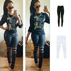 Ladies Denim Skinny Zipper Pants High Waist Stretch Jeans Long Pencil Trousers
