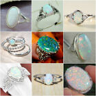 925 Silver Sterling White Fire Opal Gemstone Ring Women Wedding Engagement Lot